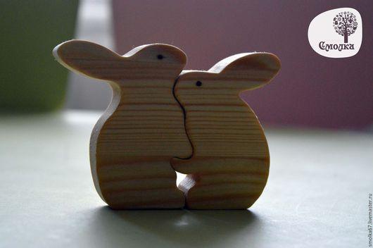 """Развивающие игрушки ручной работы. Ярмарка Мастеров - ручная работа. Купить Зайчики """"Влюбленные"""". Развивающая деревянная игрушка (пазл).. Handmade."""
