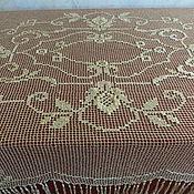 Скатерть -золотая -филейная вышивка шелком  Франция