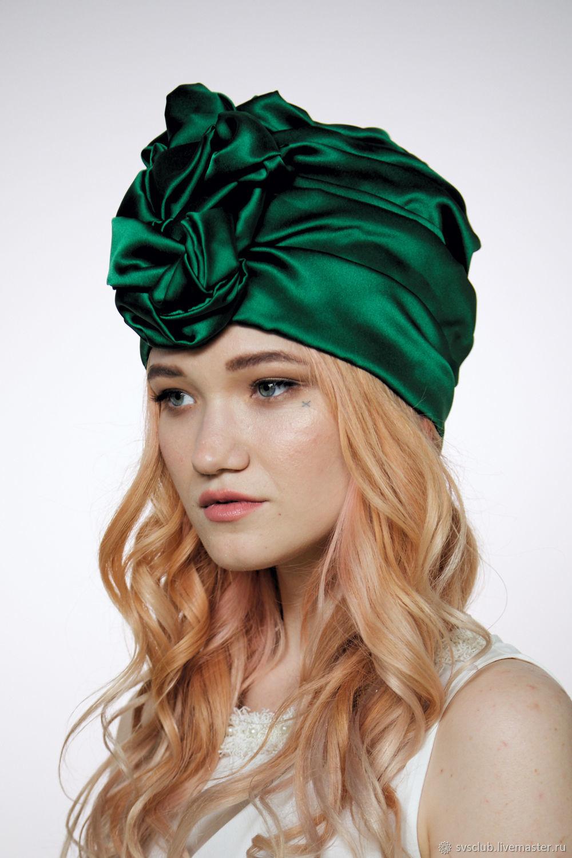 d72f4d1b9d9 My Livemaster Hats handmade. Emerald Green Silk turban hat hijab millinery. TURBAN  SVS. My Livemaster