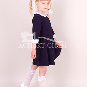 Одежда ручной работы. Ярмарка Мастеров - ручная работа Платье школьное, 4-295дс, синее. Handmade.