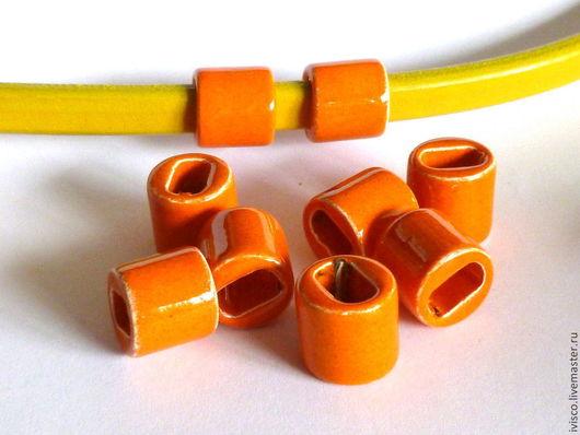 Для украшений ручной работы. Ярмарка Мастеров - ручная работа. Купить Керамические бусины для браслетов Регализ-Regaliz оранжевые. Handmade.