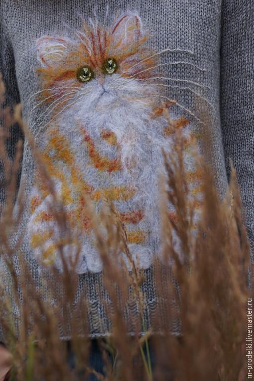 Кофты и свитера ручной работы. Ярмарка Мастеров - ручная работа. Купить Свитер вязаный Cat (16). Handmade. Серый, для отдыха