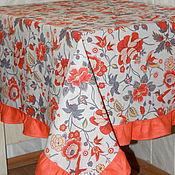 """Для дома и интерьера ручной работы. Ярмарка Мастеров - ручная работа Льняная скатерть """"Оранжевый цветник"""". Handmade."""