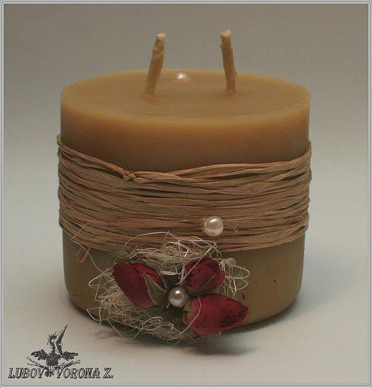 Свечи ручной работы. Ярмарка Мастеров - ручная работа. Купить Свеча «Мед и розы». Handmade. Желтый, сувенир, воск пчелиный