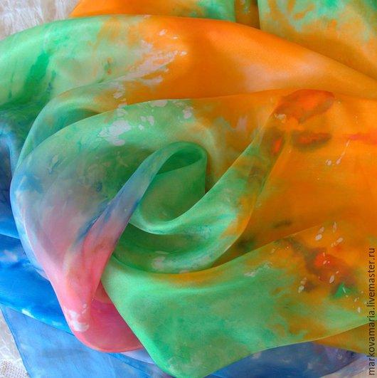 """Шали, палантины ручной работы. Ярмарка Мастеров - ручная работа. Купить Шелковый палантин шарф """"Акварель"""" ручная роспись батик. Handmade."""