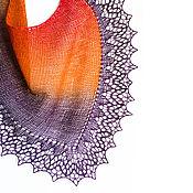 Аксессуары ручной работы. Ярмарка Мастеров - ручная работа Шаль асимметричная Оранжево-фиолетовая. Handmade.