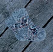 Аксессуары handmade. Livemaster - original item The baby socks wool Angora gray pattern boat. Handmade.