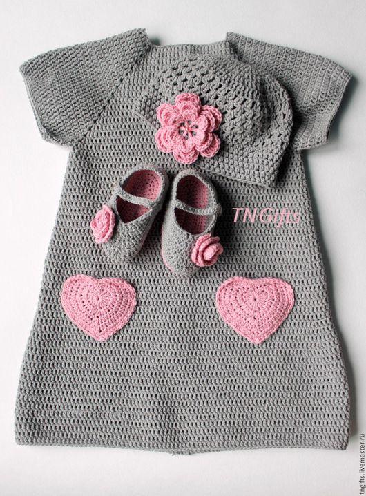 Одежда для девочек, ручной работы. Ярмарка Мастеров - ручная работа. Купить Вязаный комплект крючком Ева. Handmade. Серый, tngifts
