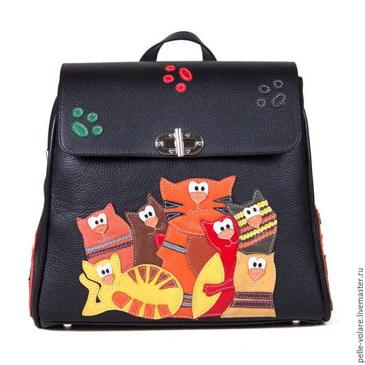 """Рюкзаки ручной работы. Ярмарка Мастеров - ручная работа. Купить Рюкзак """"Банда котов"""". Handmade. Аппликация из кожи, рюкзак для девочки"""