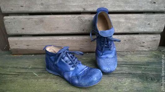 Обувь ручной работы. Ярмарка Мастеров - ручная работа. Купить Кожаные ботинки БРОГИ синие. Handmade. Тёмно-синий, броги