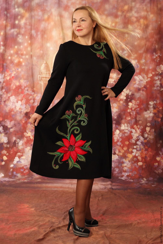 Платье трикотажное в цветы