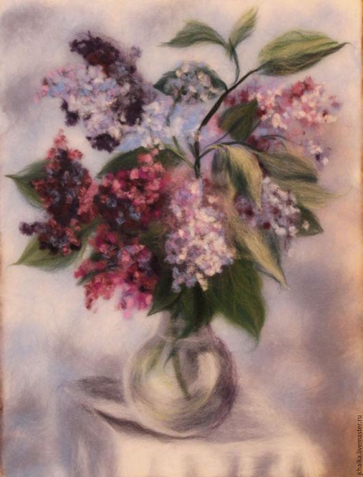 Картины цветов ручной работы. Ярмарка Мастеров - ручная работа. Купить Сирень. Handmade. Фиолетовый, цветы, шерстяные картины