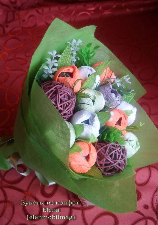 Букет из конфет ; Весенние цветы из конфет ; Букет из конфет Москва заказать ; Букет из конфет - Мишки в лесу 13 шт. на заказ