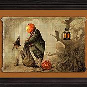 Подарки к праздникам ручной работы. Ярмарка Мастеров - ручная работа Тыквоголовый Джек на папирусе. Handmade.