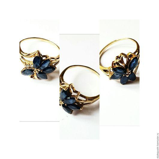 Кольца ручной работы. Ярмарка Мастеров - ручная работа. Купить Золотое кольцо с сапфирами. Handmade. Золото, кольцо, авторские украшения