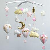 Работы для детей, handmade. Livemaster - original item Mobile in the crib for girls Pink Balloons. Handmade.