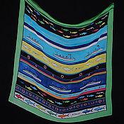 """Аксессуары ручной работы. Ярмарка Мастеров - ручная работа Шелковый платок """"Акулы и пловцы"""". Handmade."""