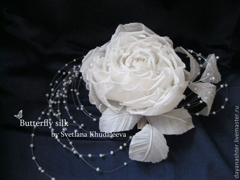 Свадебная роза. Шелк, Украшения в прическу, Москва,  Фото №1