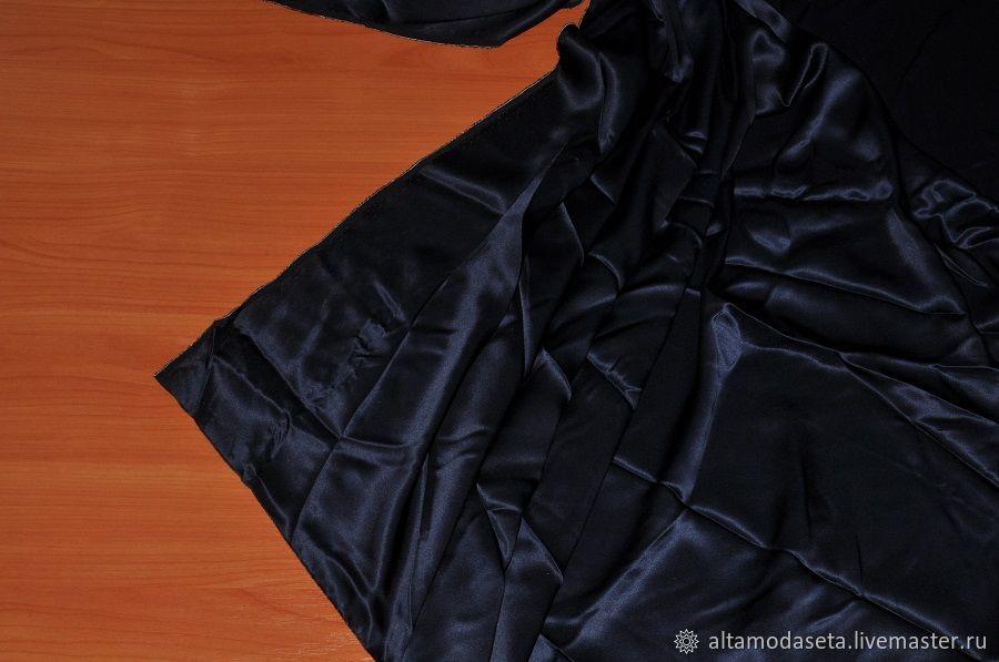 Атласный шелк темно-синий из Италии, Ткани, Москва,  Фото №1