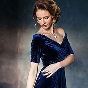Платья ручной работы. Ярмарка Мастеров - ручная работа Синее платье из бархата. Handmade.