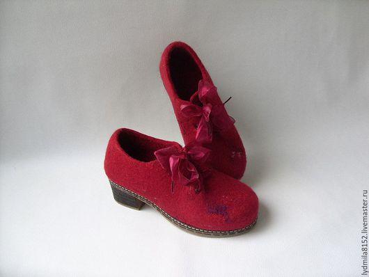 """Обувь ручной работы. Ярмарка Мастеров - ручная работа. Купить войлочные туфли """"Бордо"""". Handmade. Обувь ручной работы"""