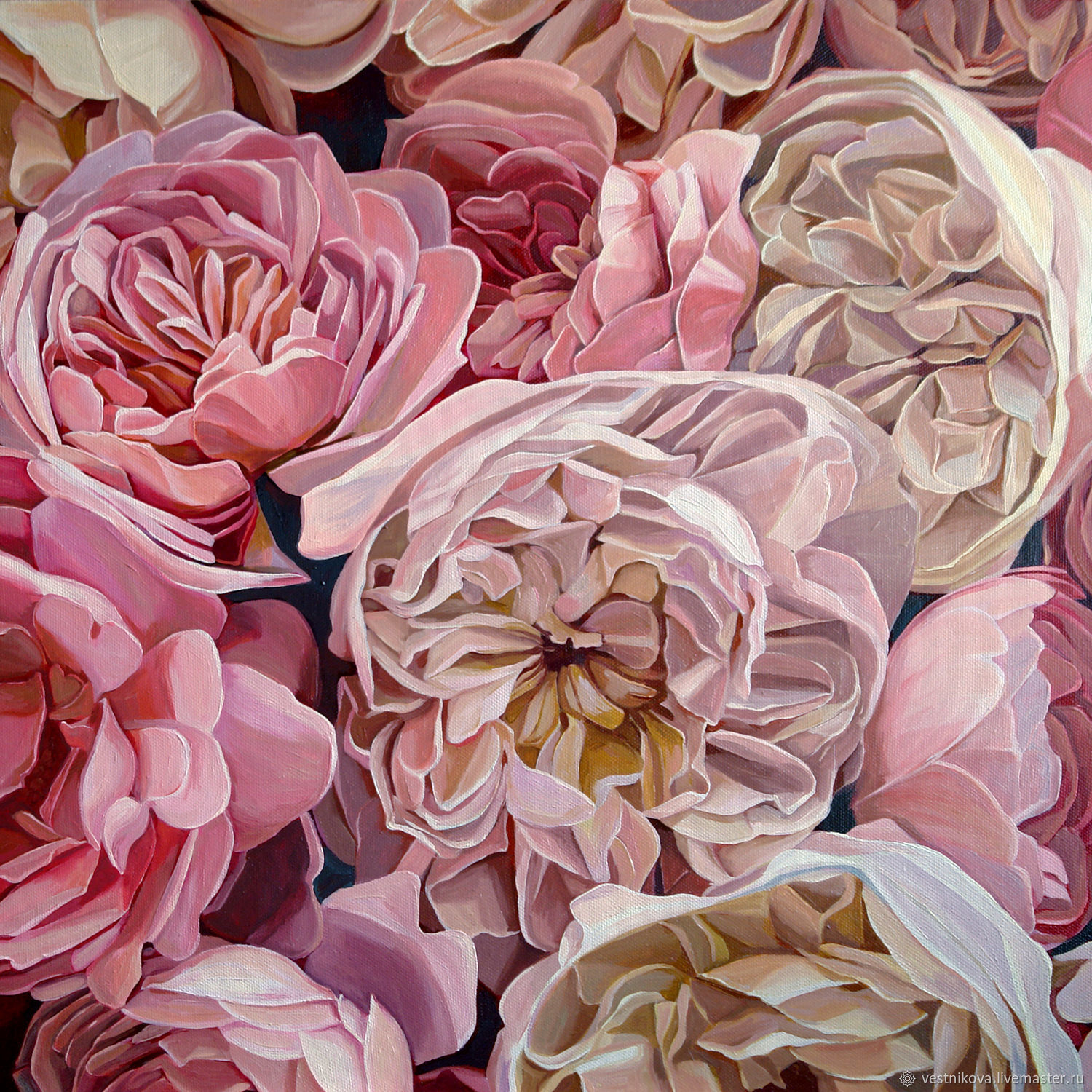 Painting with flowers 'Pink peony roses' oil on canvas, Pictures, Moscow,  Фото №1