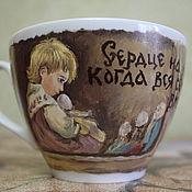 """Посуда ручной работы. Ярмарка Мастеров - ручная работа Чайная пара """"Сердце на месте, когда вся семья вместе!"""". Handmade."""