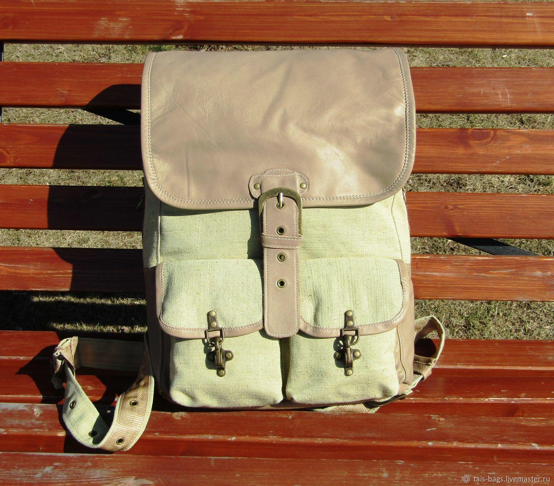 Men's backpack of genuine leather and linen textile MAGELLAN zel, Men\\\'s backpack, Izhevsk,  Фото №1