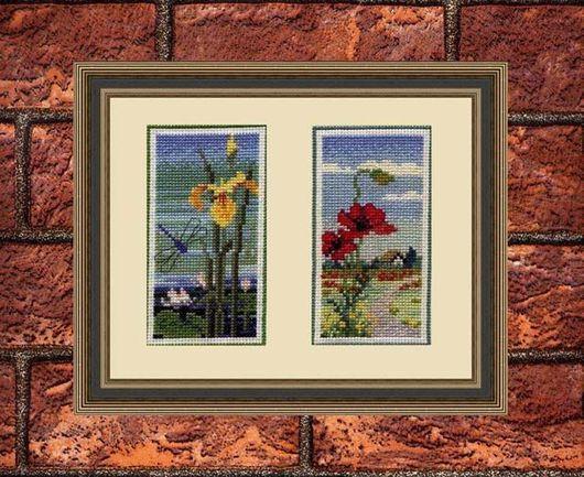 Вышитые картины Маковое поле и На берегу из серии У воды. Пример парного оформления в виртуальную рамку с паспарту