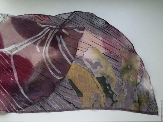 Шарфы и шарфики ручной работы. Ярмарка Мастеров - ручная работа. Купить Шелковый шарфик. Handmade. Бордовый, шелк натуральный, аксессуар