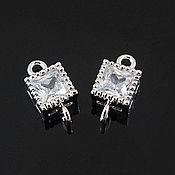 Материалы для творчества handmade. Livemaster - original item Connector with zircon 5.2х5.2 mm rhodium plated. Korea (art. 2826). Handmade.