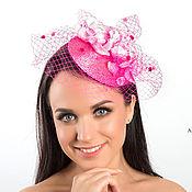 Аксессуары ручной работы. Ярмарка Мастеров - ручная работа Розовая вечерняя шляпка таблетка с вуалью для праздника. Handmade.