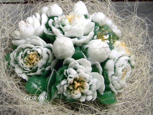 Мыло ручной работы. Ярмарка Мастеров - ручная работа. Купить Мыло БУКЕТ ПИОНОВ, сувенирное мыло. Handmade. Белый