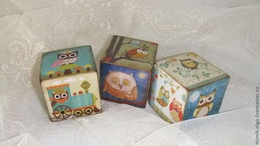"""Комплекты аксессуаров ручной работы. Ярмарка Мастеров - ручная работа. Купить Кубики """"Совушки- 2"""". Handmade. Кубики, для игрушек, совы"""
