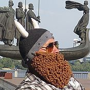 Аксессуары handmade. Livemaster - original item Knitted hat Helmet Viking with a beard and horns. Handmade.