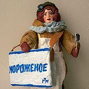 """Куклы и игрушки ручной работы. Ярмарка Мастеров - ручная работа """"Мороженщица"""" - ватная елочная игрушка. Handmade."""