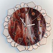 """Для дома и интерьера ручной работы. Ярмарка Мастеров - ручная работа Витражные часы """"Восход солнца"""". Handmade."""