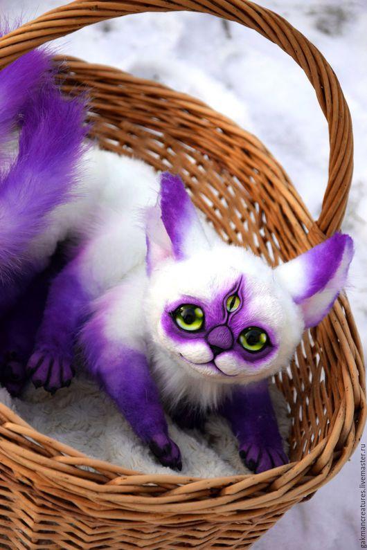 Сказочные персонажи ручной работы. Ярмарка Мастеров - ручная работа. Купить полтора фиолетового кота. Handmade. Тёмно-фиолетовый