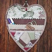 Для дома и интерьера ручной работы. Ярмарка Мастеров - ручная работа Кармашек для мелочей на стену Сердечный лоскутный. Handmade.