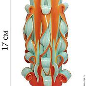 Сувениры и подарки ручной работы. Ярмарка Мастеров - ручная работа Резная свеча Верона зелено-оранжевая. Handmade.