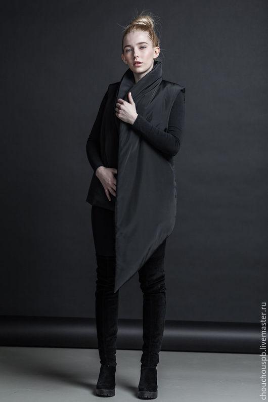 Верхняя одежда ручной работы. Ярмарка Мастеров - ручная работа. Купить Жилет Assymetric vest. Handmade. Черный, жилет