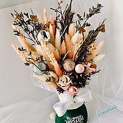 Новогодние композиции ручной работы. Ярмарка Мастеров - ручная работа Подарочный новогодний букет из сухоцветов «Пудровый соблазн». Handmade.