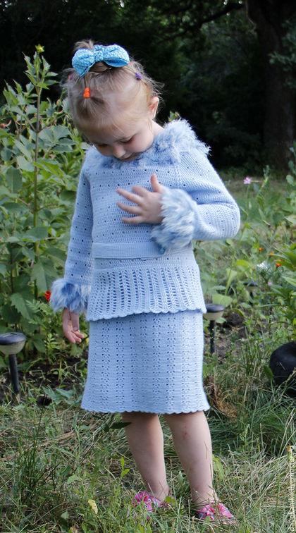 Платья ручной работы. Заказать Платье тёплое с длинным рукавом для девочки 5-7 лет.. Любовь Витьковна. Ярмарка Мастеров.