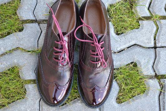 Обувь ручной работы. Ярмарка Мастеров - ручная работа. Купить Женский оксфорд бордового цвета. Handmade. Бордовый, стиль