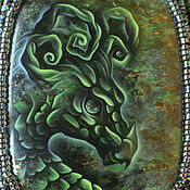 """Украшения ручной работы. Ярмарка Мастеров - ручная работа Кулон с росписью """"Хранитель лета"""" (дракон, лаковая миниатюра). Handmade."""