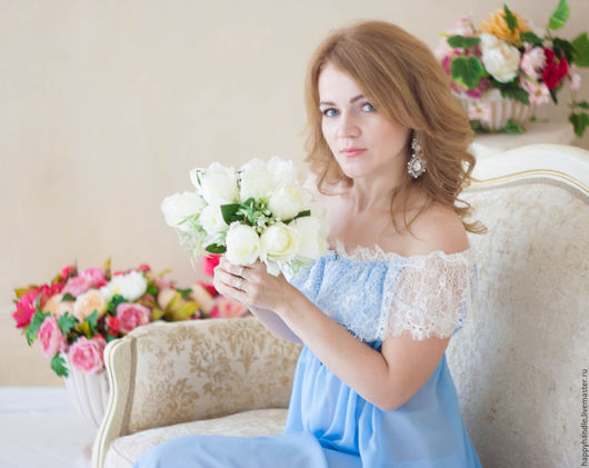 """Белье ручной работы. Ярмарка Мастеров - ручная работа. Купить """"Джульетта в голубом""""- шифоновый пеньюар с кружевом шантильи. Handmade. Голубой"""