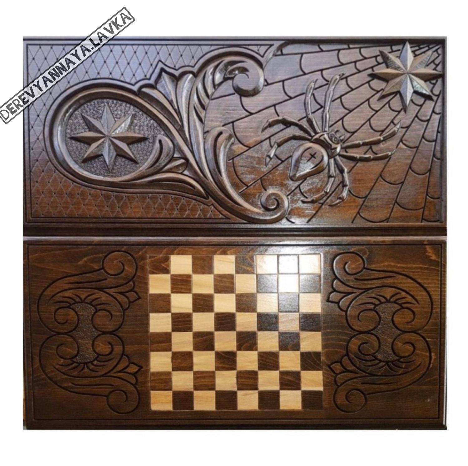 Backgammon carved 'Spider 2' Art. .081, Backgammon checkers, Moscow,  Фото №1