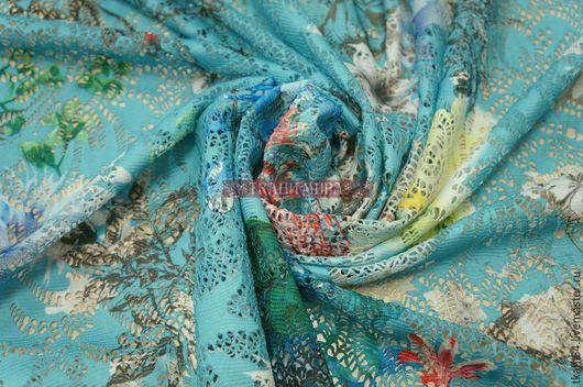 Шитье ручной работы. Ярмарка Мастеров - ручная работа. Купить Кружевное полотно набивное, 150 см, голубой. Handmade. Бирюзовый