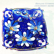 Посуда handmade. Livemaster - original item A plate of Blue lake, glass fusing. Handmade.
