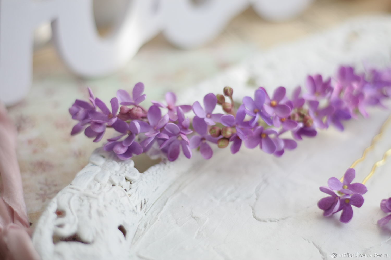 Полувенок  и шпильки с цветами сирени, Диадемы, Пенза,  Фото №1